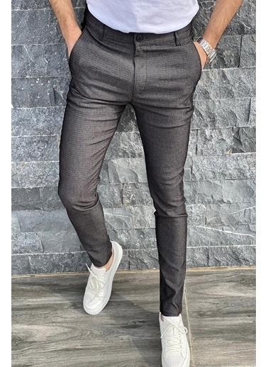 Oksit Oksit Zoom 108 Desenli Slim Fit Likralı Keten Füme Pantolon Füme